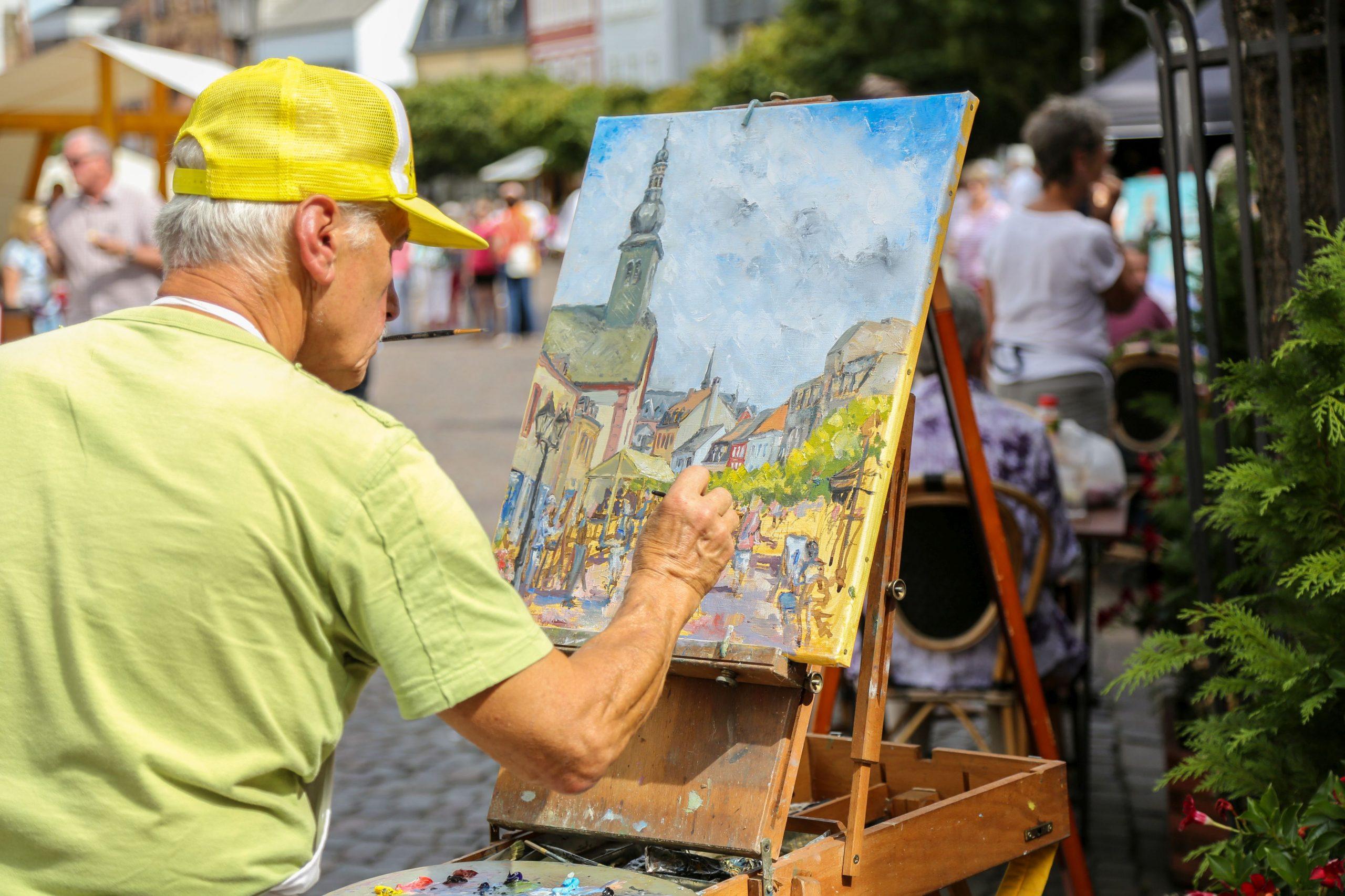 Künstler bei Weisgerbermarkt in der Innenstadt St. Ingbert